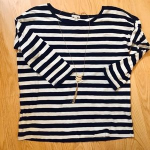 GAP Navy and White Striped Top